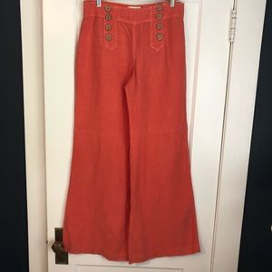 elevenses Coral Linen Wide Leg from Anthropologie